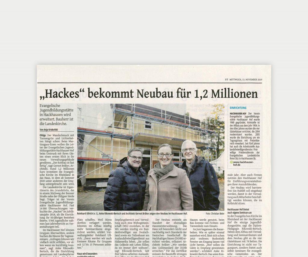 Hackes bekommt Neubau für 1,2 Millionen